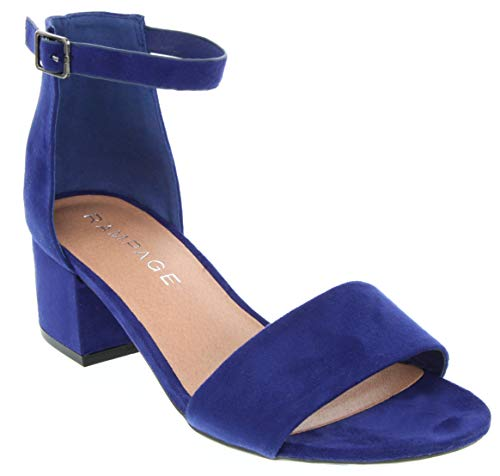 (Sugar Women's Noelle Low Two Piece Block Heel Dress Shoe Ladies Ankle Strap Pump Sandal Blue 7.5)