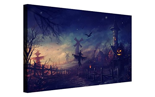 NAN Wind Golden Pumpkin Lantern Scarecrow at Haunted Castle Haunted House Painting Halloween Wall Art Painting Pictures Festival Art Print Print On Canvas Art The Picture For Home Modern (Halloween Haunted House Pictures)