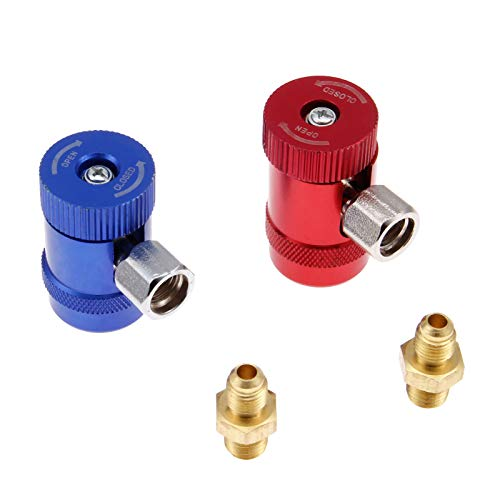 Aupoko R1234yf Quick Couplers, High/Low Side R1234yf Manual Couplers Connector Adapters with 1/4