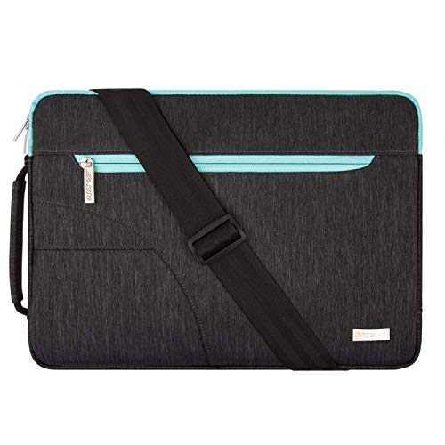 MOSISO Laptop Shoulder Bag Compatible with 15 inch MacBook Pro Touch Bar A1990 A1707 2019 2018 2017 2016, 14 inch ThinkPad Chromebook, Polyester Briefcase Sleeve Case with Side Handle,Black & Hot Blue