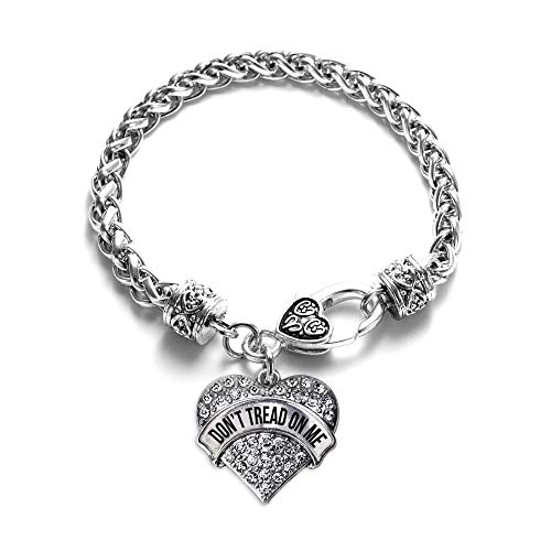 Inspired Silver - Don't Tread on Me Braided Bracelet for Women - Silver Pave Heart Charm Bracelet with Cubic Zirconia Jewelry