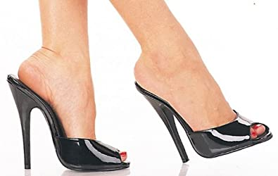 9de097a30670 Pleaser Domina 101 black patent 6 inch stiletto high heels peep toe mule  size 6.5
