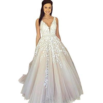 Abaowedding Women's Wedding Dress for Bride Lace Applique Evening Dress V Neck Straps Ball Gowns