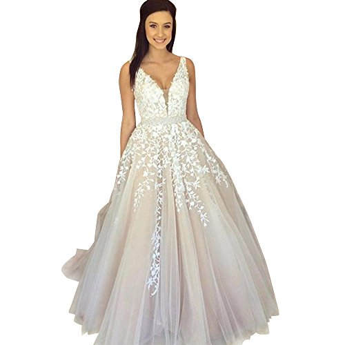 Abaowedding Women's Wedding Dress for Bride Lace Applique Evening Dress V Neck Straps Ball Gowns (White-Short, 2)