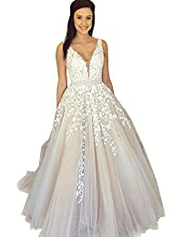 Women s Wedding Dress for Bride Lace Applique Evening Dress V Neck Straps Ball  Gowns c4ba83b87ccd