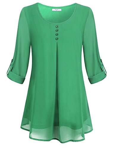 Cestyle Boutique Clothing for Women, Ladies Business Casual Shirts Flare Hem Tunic Tops Flowy Long Peasant Blouse Chiffon Vintage Roll Up 3/4 Sleeve Button Down Shirt-Tail Tshirt Round Neck Green L