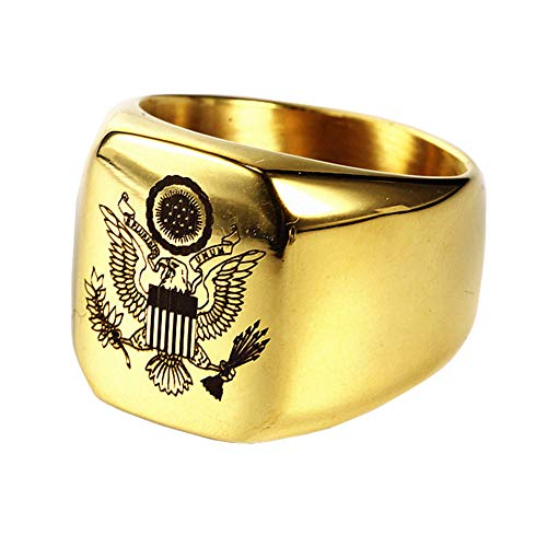 JAJAFOOK Vintage US Military Army Ring Eagle Medal Ring for Men's, Stainless Steel Army Signet Rings, Silver/Gold/Black
