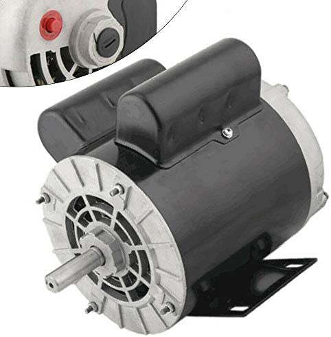 """41XVbnaRRiL. AC Air Compressor Electric Motor 2 HP SPL 3450RPM Single Phase Electric Air Compressor Motor 120V/240V 56 Frame 5/8"""" Shaft    Specifications:【HIGH QUALITY MATERIAL】Air Compressor Electric Motor, made of high quality steel, rigid base, mounting bracket included, able to withstand harsh industrial applications. Equipped with UL approved manual thermal overload, capacitors and high quality ball bearings to ensure the lifetime.【POWERFUL AC MOTOR】Powerful AC motor, high starting torque, reduced starting amperage design to ensure the reduced voltage starting at rated load. Manual overload protection, totally enclosed fan, lubricated with low temperature grease. (Air Compressor Electric Motor, 2HP, SPL, 3450RPM, 56 Frame, 120V/240V, 15/7.5Amp, 5/8"""" Shaft, Single Phase.)【MAIN PARAMETERS 1】Power: 120V/240V 2HP; Speed: 3450RPM; Frequency: 60HZ; AMB 40°C; Frame: 56; Duty: Cont. Compressor; Service Factor: 1.0; Full Load Amps: 15/7.5; NS.CL: F; Single Phase; Open Drip Proof (ODP) Enclosure; Non-Reversible, CCW Rotation Facing Shaft; Thermally Protected; Manual Reset Overload Protection.【MAIN PARAMETERS 2】Overall Length W/O Shaft: 9.75""""; Overall Length With Shaft: 12.3""""; Overall Height: 8.5""""; Overall Width: 6.35""""; Shaft Diameter: 5/8""""; Shaft Length: 2.55""""; Standard Size Keyway: 3/16""""; Package size: 14'' x 11'' x 8''; Shipping weight: 25lb.【SPECIAL DESIGN】Open drip-proof is better used in environment that are relatively clean and dry environments. Special design for air compressor duty. Motor is non-reversible CCW(counter clockwise) only. (Default settings are default low-voltage current. If the need to use high-voltage current, please replace the use of high voltage wiring.)"""