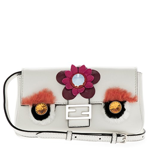 Fendi Women's Baguette Micro Fashion Show Appliques White