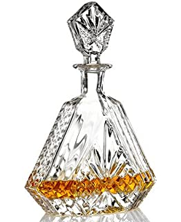 JAMES SCOTT LEAD FREE CRYSTAL LIQUOR WHISKEY AND WINE DECANTER TRIANGULAR CRYSTAL DECANTER , 610 ML