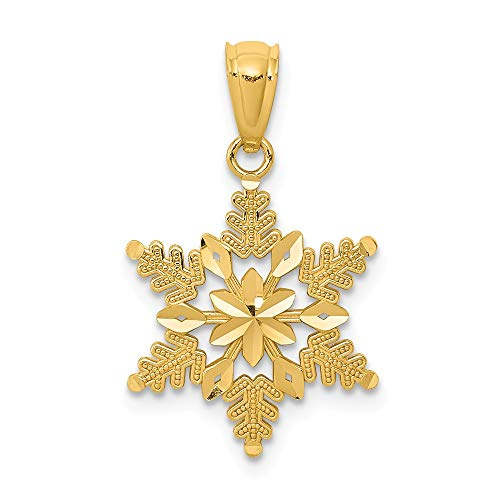 14k Yellow Gold Snowflake Pendant Charm Necklace Winter Fine Jewelry Gifts For Women For Her ()
