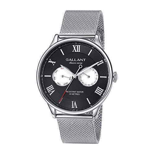 Mens Watch Waterproof Watch Multi-Eye Day Date Wrist Watch Stainless Steel Mesh Band, Roman Numerals Dial Luminous Quartz Classic Business Men's Watch
