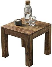 FineBuy Koffietafel Massief Sheesham-Hout 45 x 40 x 45 cm Salontafel Bruin | Tafelplein Woonkamer Moderne | Houten Tafel Bijzettafel