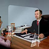 Sneeze Guard Acrylic Protective Sneeze Shield for Desk and Counter, Sneeze Guard Shield 16in x 16in, Sales Counter/Reception Protection Barrier for Employers, Workers & Customers