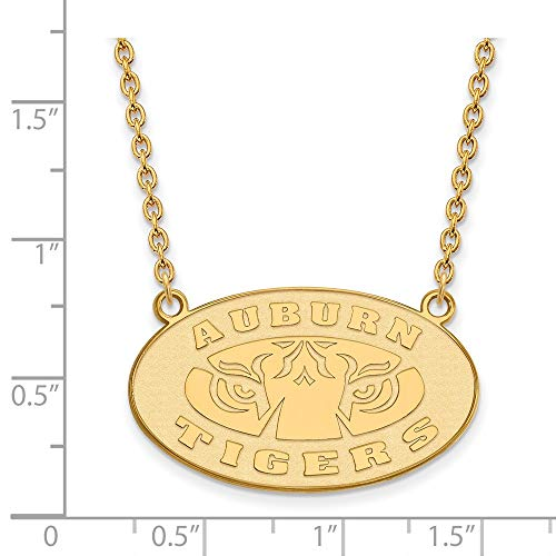 14k Yellow Gold Auburn University Tigers Oval Pendant Necklace L - (19 mm x 31 mm)