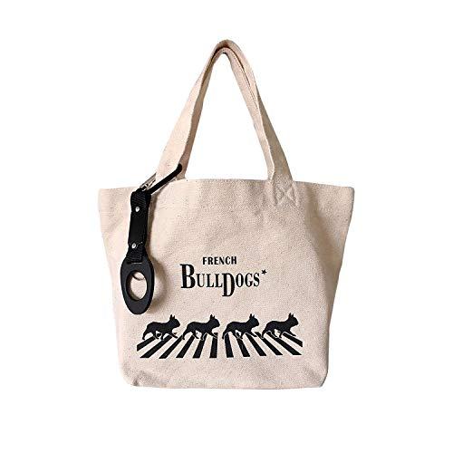 Pillow Dog Designer (French Bulldog Canvas Bag with Original Designer ABBEY ROAD Tribute Illustration. Includes Drink Bottle Holder Ring for Carrying Lunch or Walking Dog)