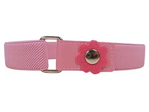 Elastischer Gürtel für Mädchen 1-6 Jahre, mit Blume Design - Rosa