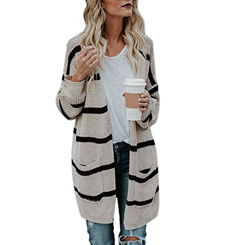 Sleeve Fashion Cardigan Stripe Autumn Beige Clothing Jacket Long Winter Womens Knitted Coat Crochet Sweater Tianya gUqaAq