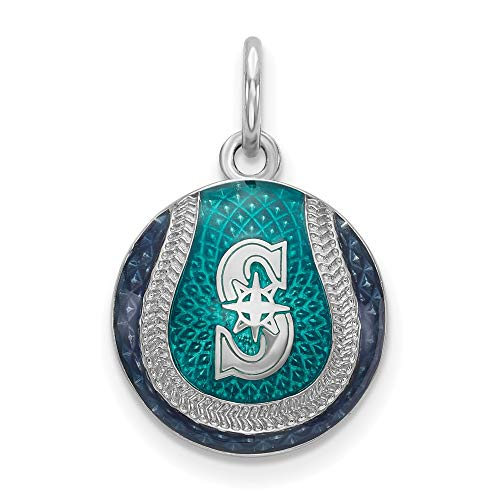 MLB Seattle Mariners Sterling Silver Seattle Mariners Enameled Baseball Charm Size One Size