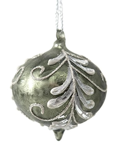 Frosted Green Leaf Glass Onion Ornament 4