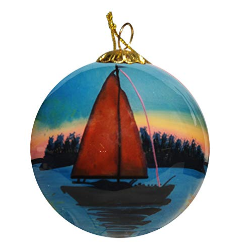 (Art Studio Company Hand Painted Glass Christmas Ornament - Sailboat Hilton Head Island)