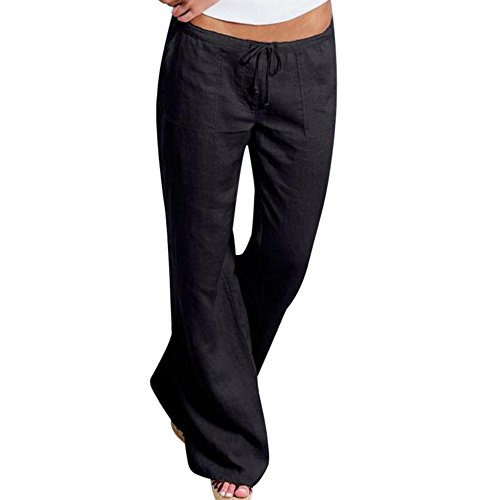 Youthny Women's Casual Cotton Linen Wide Leg Flared Pants with Drawstring Waist(Black,XL) -