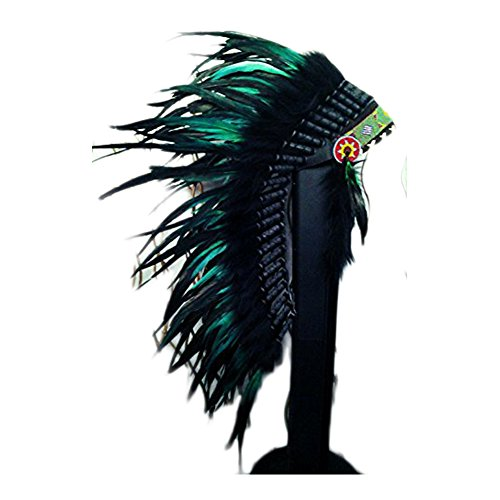 Theworldoffeathers Medium Green Rooster Feather Headdress | Native American Indian Inspired