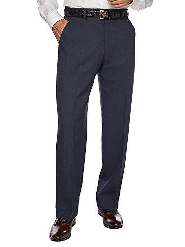 Paul Fredrick Men's Comfort-Waist Microfiber Flat Front Pant Navy 30 -