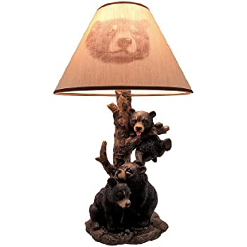 Black Bear Family Table Lamp W/ Tree Bark Print Shade