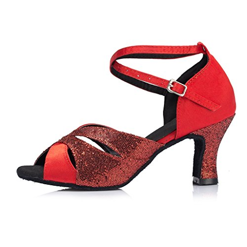 Cha Women's Miyoopark Glitter Dance Shoes High Cha M Red Chunky US Satin 7 Heel T88dHw