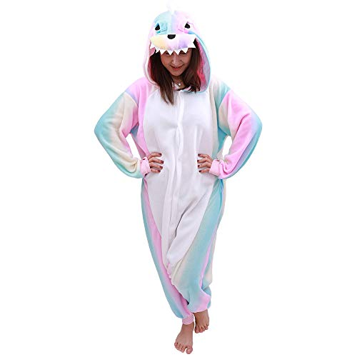 Animal Onesie Dinosaur Pajamas-Plush One Piece Costume (Medium, Pink Rainbow)