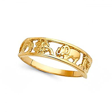 Women 14k Yellow Gold Horseshoe Clover 13 Elephant Ring Good