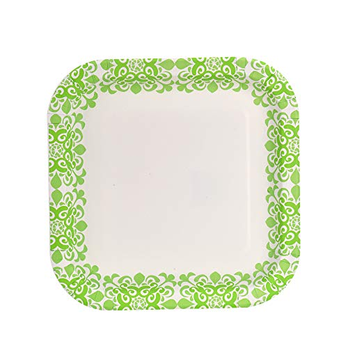 Glad Square Disposable Paper Plates for All Occasions | New & Improved Quality | Soak Proof, Cut Proof, Microwaveable Heavy Duty Disposable Plates | 10