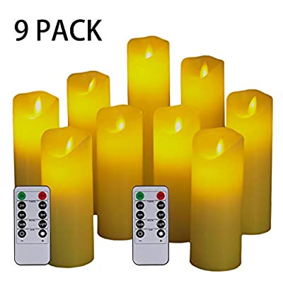 Flameless Candles,Led Candles Set of 9 Ivory Dripless Real Wax Pillars Include Realistic Dancing LED Flames Battery Candles and 10-Key Remote Control with 24-Hour Timer