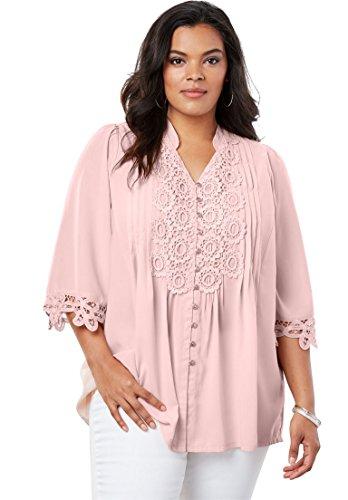 Roamans Womens Plus Size Print Lace Tunic