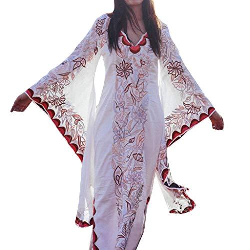 Qingell Dress Women's Vintage Print V-Neck Trumpet Sleeve Long Dress Bohemian Split Tie-Waist Maxi Dress 2019 White