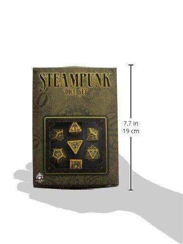 Q-Workshop Polyhedral 7-Die Set: Carved Steampunk Dice Set (Yellow and Black) 4