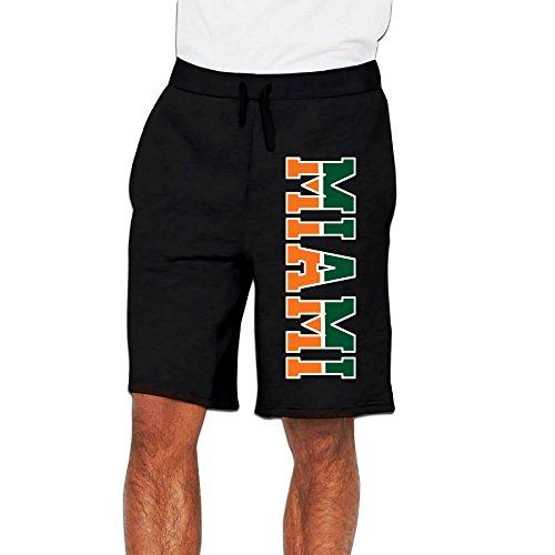 Men's Miami Hurricanes Bottom Shorts Sweatpants Black Size XL