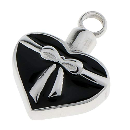 (Bowknot Heart Cremation Keepsake Memorial Pet Ash Urn Pendant Charm Jewelry Necklace Jewelry Crafting Key Chain Bracelet Pendants Accessories Best)
