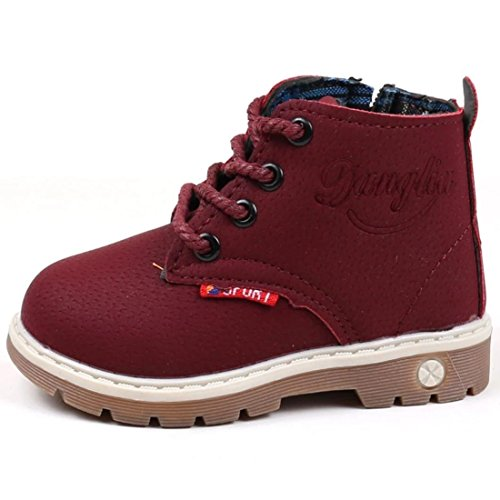 Shoes Hiking Girls - RVROVIC Baby Kids Boots Boys Girls Shoes Hiking Ankle Boots Toddler/Little Kid (8 M US Toddler, Wine Red-Style 2)