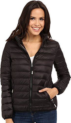 Black Travel Jacket (Tumi Women's Clairmont Packable Travel Puffer Jacket Black Medium)