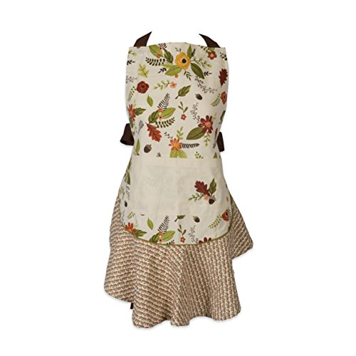 (DII 100% Cotton, Fall Inspired, Kitchen Ruffle Apron Front Pocket and Extra Long Ties 26X29.5 Fall In Love)