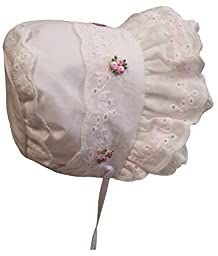 N\'Ice Caps Baby Girl Fancy Double Brimmed Eyelet Bonnet (Infant Large (12-18 months), White/pink)