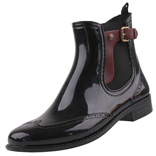 Gosch Shoes Sylt - Mujer Chelsea Botas de agua Caucho natural 7103-502 en 3 colores negro-burdeos