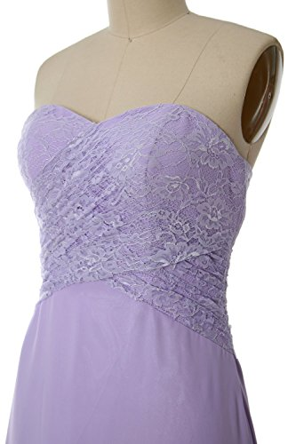 MACloth Women Strapless Lace Short Bridesmaid Dress Wedding Party Formal Gown Morado