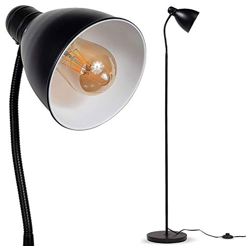 Wallniture Adjustable Reading Floor Lamp with Foot Control On Off Switch Black (2 Pack) - Double Pharmacy Floor Lamp