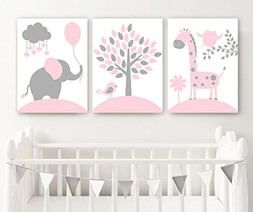 Pink Gray Nursery Decor Canvas or Print Baby Girl Jungle Safari Nursery Wall Art Girl Elephant Giraffe Tree Pictures Set of 3 Artwork 8x10 inch