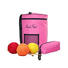Knitting Bag for Yarn and Wool Storage. Organize Your Knitting/Crochet Accessories with Extra Pouch and Slits. Portable, Lightweight and Easy to Carry. Prevent Yarn From Tangling (Pink)