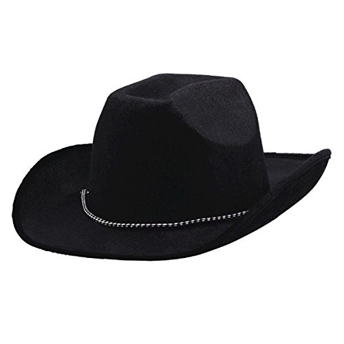 Party Ready Team Spirit Velour Cowboy Hat Accessory, Black , Fabric , 5