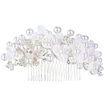Ever Faith Silver-Tone Crystal Cream Simulated Pearl 5 Inch Lace Flower Cluster Wedding Hair Comb Clear N06629-1